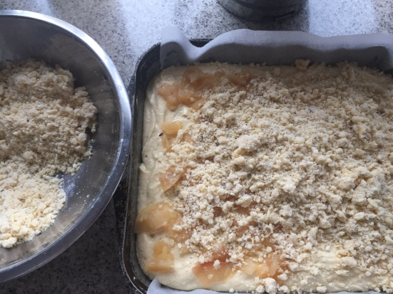 top batter (and fruit) with streusel