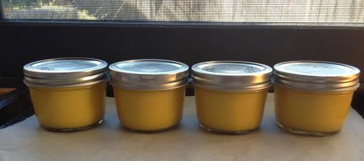 lime curd in jars