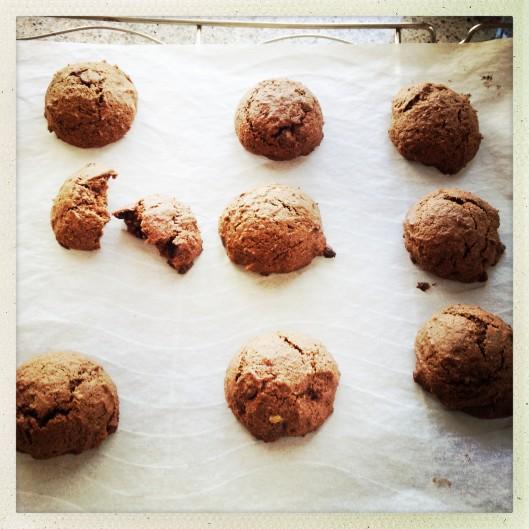 Walnut-choc-banana biscuits