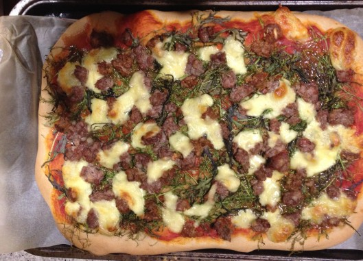 sausage and greens pizza