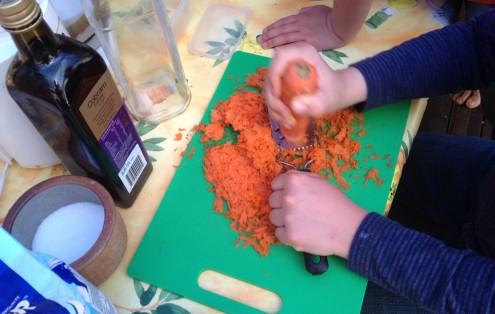 Mr Minecraft grating carrots.JPG