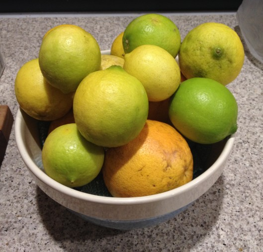 limes and grapefruit