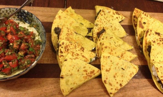 black bean and goat cheese quesadillas