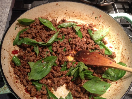 add basil off the heat