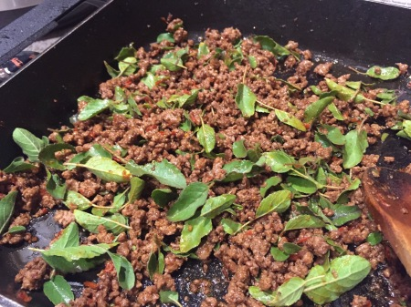 holy basil in Thai stir-fried beef