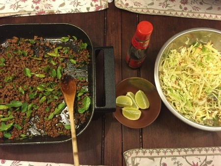 Thai beef with holy basil and crunchy salad