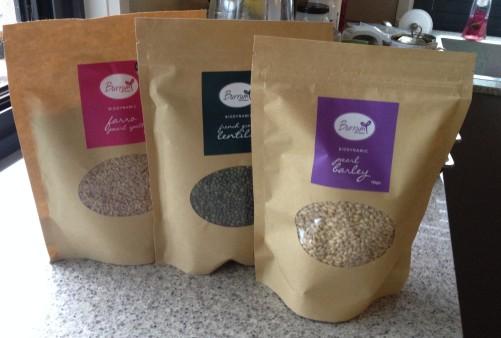 spelt, barley and lentils