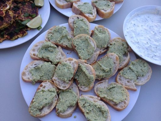 artichoke parmesan paste on baguette slices
