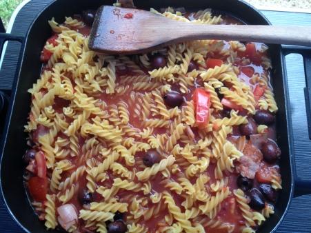 add pasta and liquid