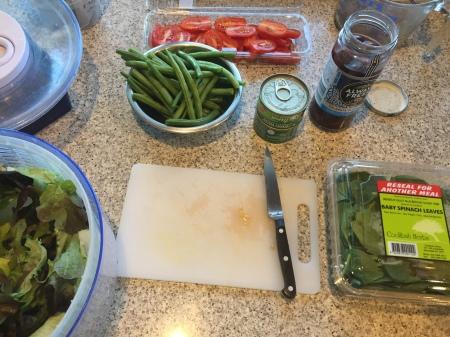 preparing ingredients for salad