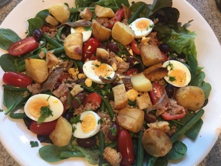 salad variation using up leftover roast potatoes