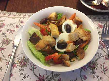 Mr M's version - minus egg yolk, tuna, potato and tomato, and plus capsicum and croutons