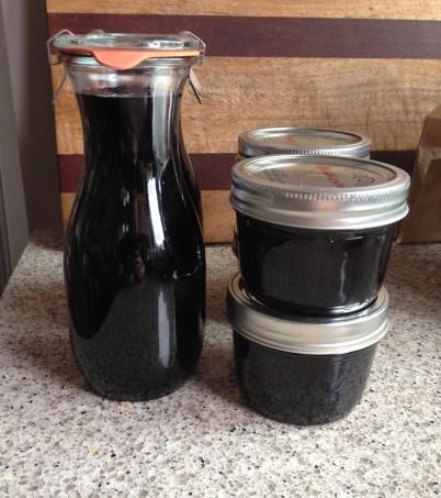 Creme de Cassis and blackcurrant jam