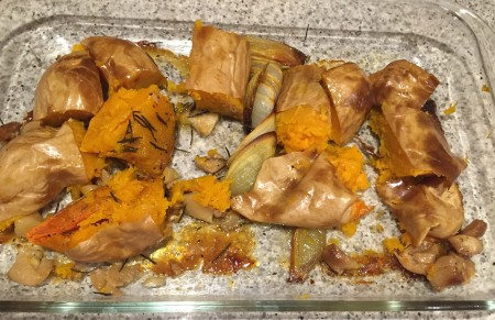 remove garlic skins and rosemary stalks