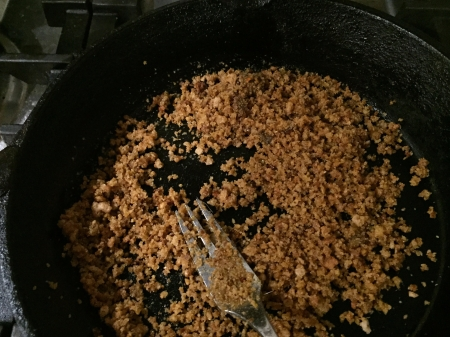 fry breadcrumbs until golden