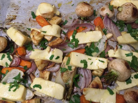 roast vegetables with haloumi
