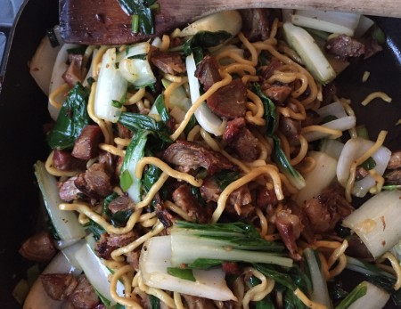 char siu stir fry with bok choy