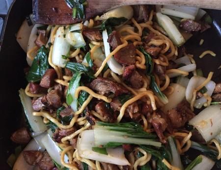 char siu stir fry with bok choy