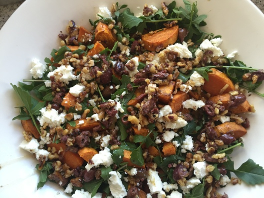 sweet potato, rocket and feta salad