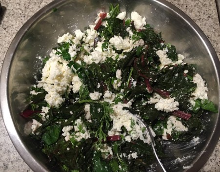mix greens and ricotta