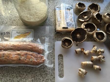 sausage, rice, mushroom, parmesan