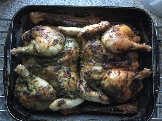 green marinated and spiced roast chicken