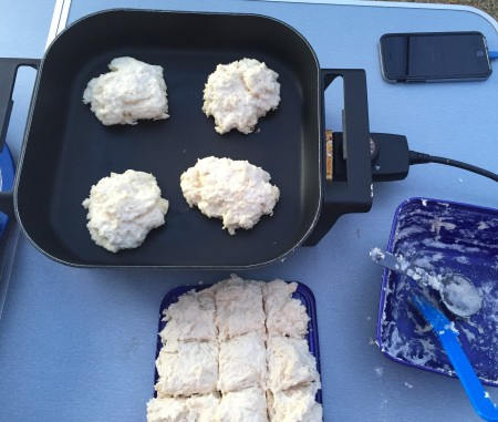 cut dough into squares and cook 4 or 5 at a time