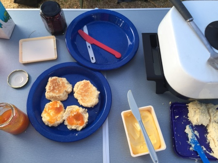 camping with scones with apricot jam