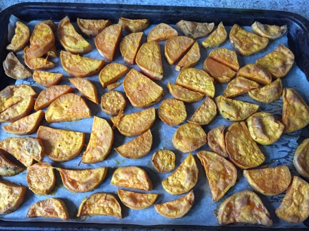 roast sweet potato until tender and lightly browned