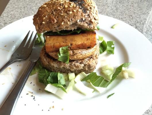 tofu and mushroom burger