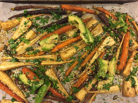 roasted carrots with avocado and seeds