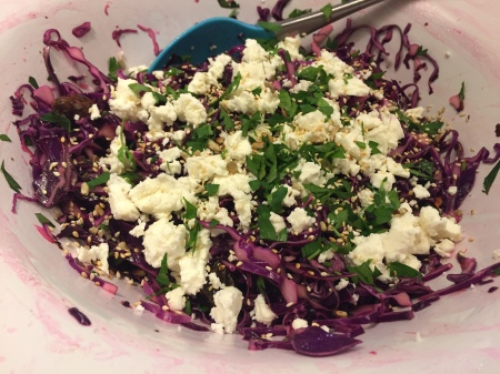 red cabbage, date and feta salad