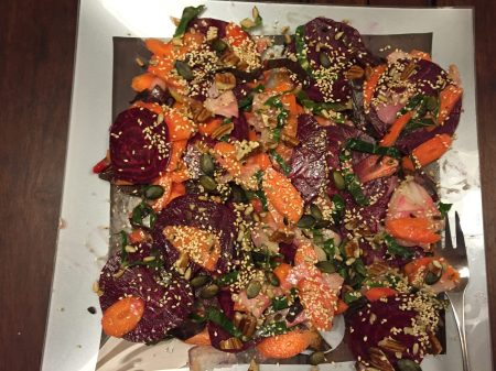 beetroot, carrot and pear salad