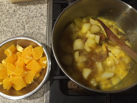 simmer pears till tender and dice oranges