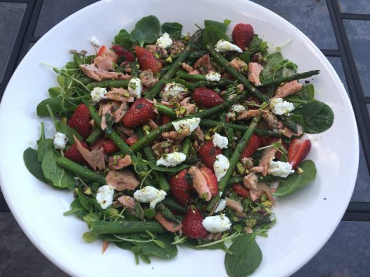 asparagus, strawberry, trout and pistachio salad
