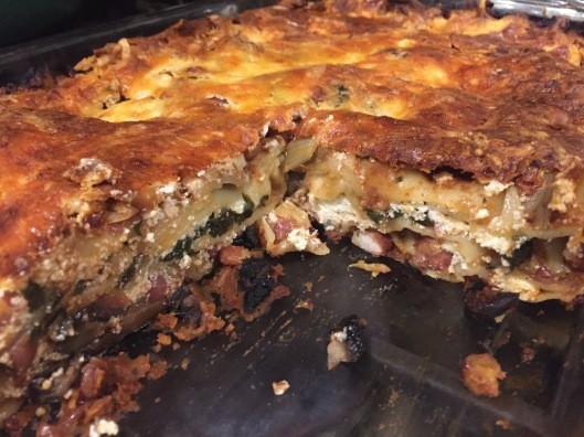 Red bean and mushroom lasagne