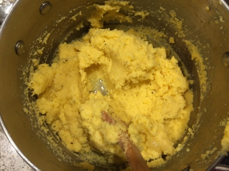 stir cheese and egg into polenta