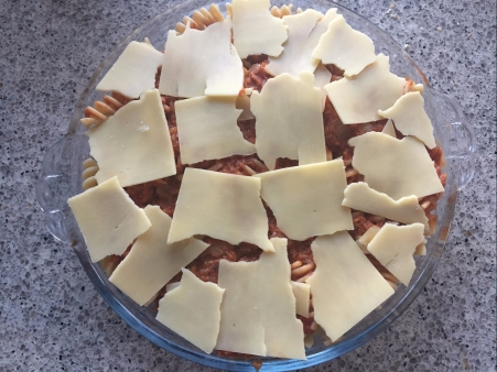 finish with cheese, then bake until bubbling