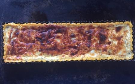 asparagus polenta crust tart