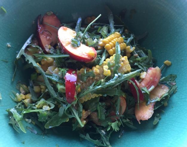 Nectarine, corn and rocket salad