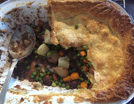 Steak and onion pie with extra veg