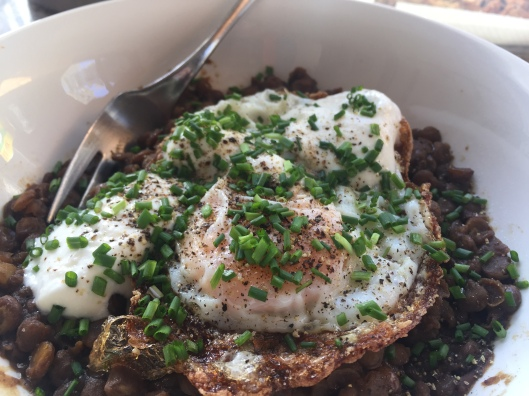 left over lentils with a crispy egg and chives