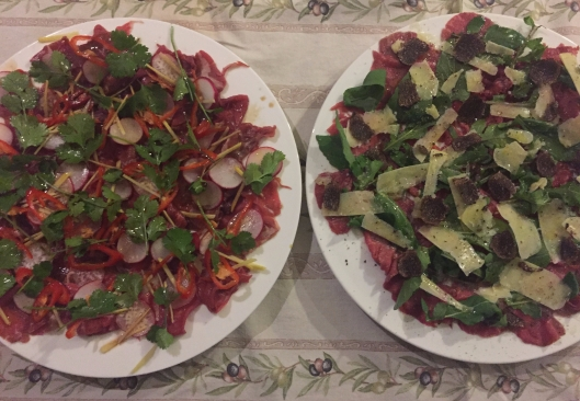 Traditional and Asian carpaccio