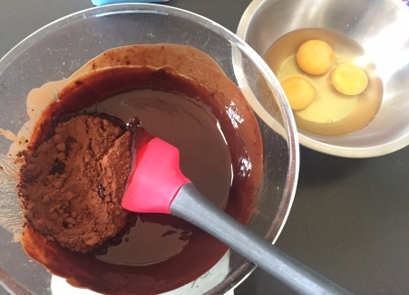 stir cocoa into chocolate and butter