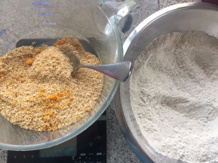 whisk together dry ingredients and mix bran, zest and buttermilk