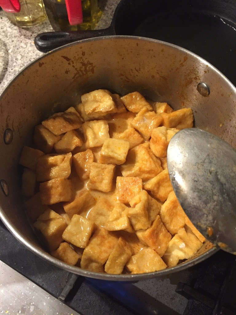 add tofu puffs to soup