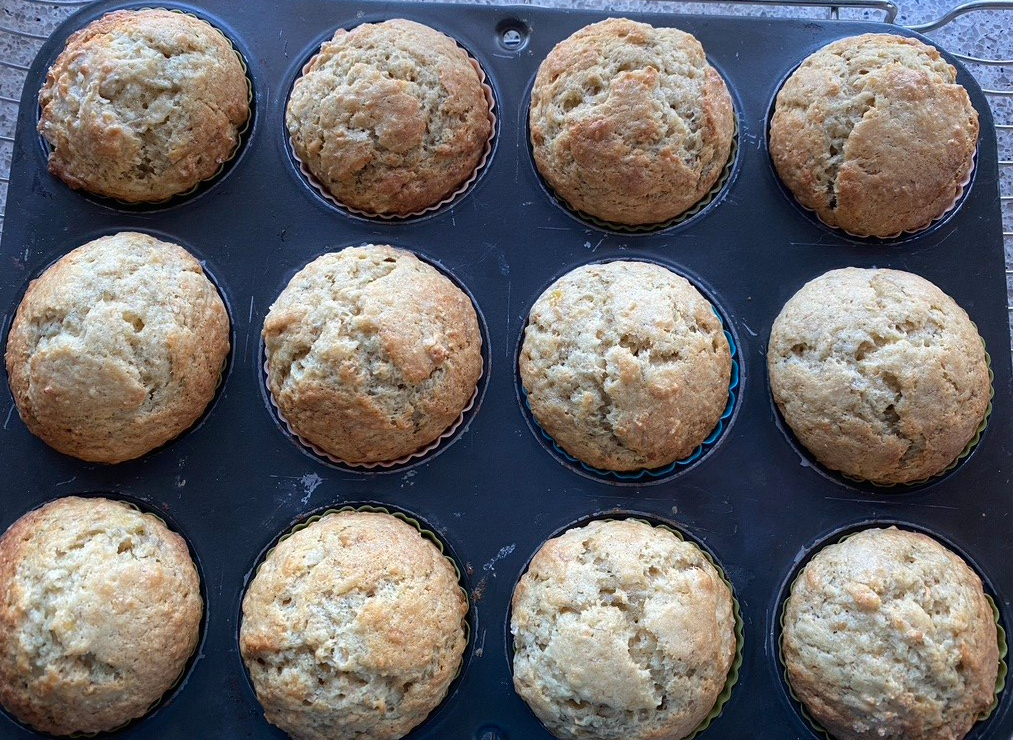 muffins should be puffed and golden when done