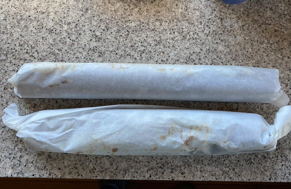 twist ends of baking paper to make a tight roll